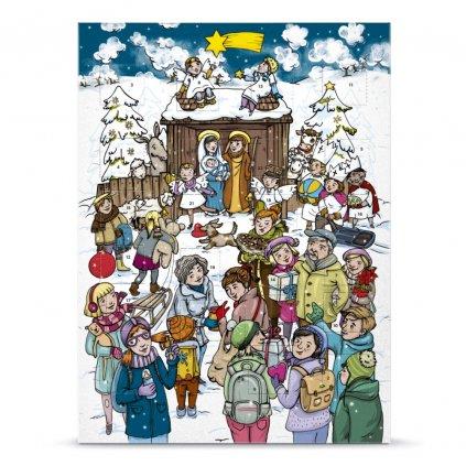 Český fair trade bio adventní kalendář s mléčnou čokoládou a příběhem o narození Ježíška
