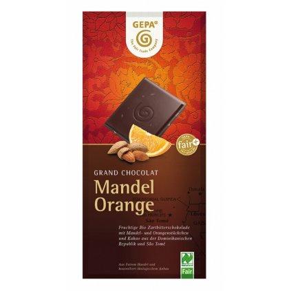 Fair trade bio hořká čokoláda s mandlemi a pomerančem