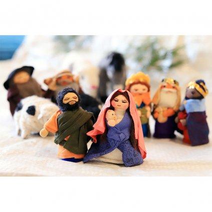 Fair trade tibetský hadrový betlém Dolls4Tibet