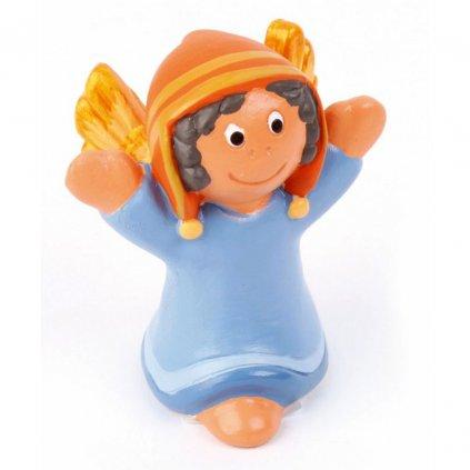 Fair trade hliněný anděl z Peru, modrý