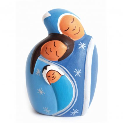 Fair trade ručně dělaná Svatá rodina z Peru, keramika, 9 cm
