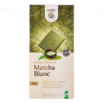 Fair trade bio bílá čokoláda se zeleným čajem Matcha