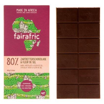 Fair trade bio hořká čokoláda Fairafric s 80 % kakaa a Fleur de Sel, vyrobená v Ghaně, 80 g
