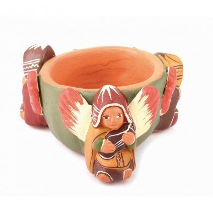 Fair trade hliněný svícen na čajovou svíčku Andělé z Peru