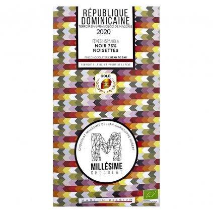Řemeslná fair trade bio hořká čokoláda Millésime Chocolat s lískovými oříšky Dominikánská republika 75 %