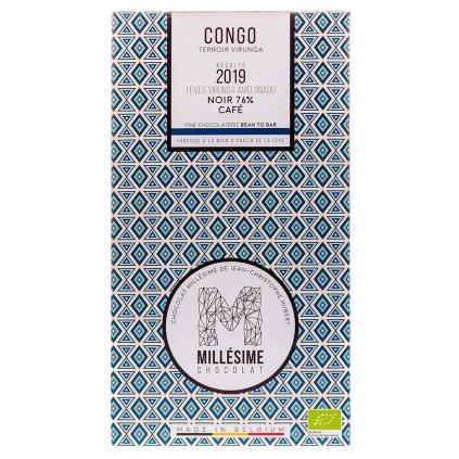 Řemeslná fair trade bio hořká čokoláda Millésime Chocolat s kávou Kongo 76 %