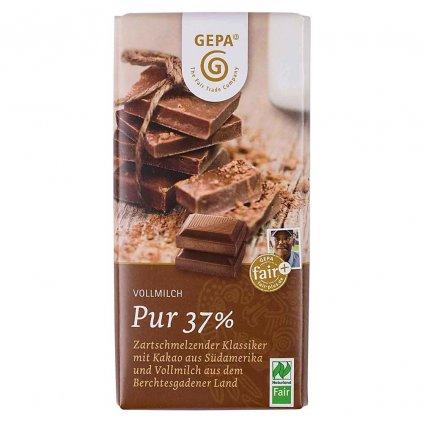 Fair trade bio mléčná čokoláda s 37 % kakaa