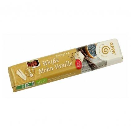 Fair trade bio bílá čokoládová tyčinka s mákem a vanilkou