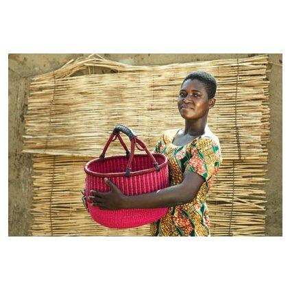 Kulatý bolga koš premium z Ghany, různé barvy, 40 cm