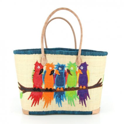 Fair trade pletená taška s papoušky z palmového listí z Madagaskaru