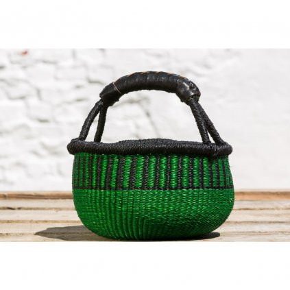 Fair trade malý kulatý bolga koš premium z Ghany, zelený