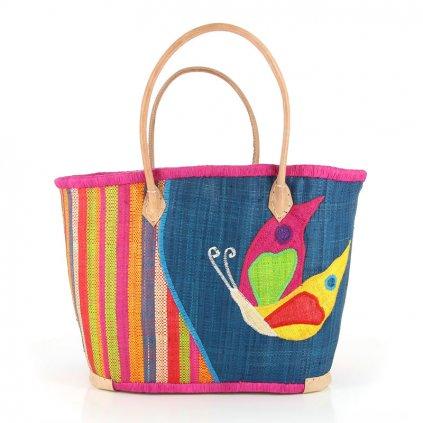 Fair trade ručně pletená taška s motýlem z palmového listí z Madagaskaru