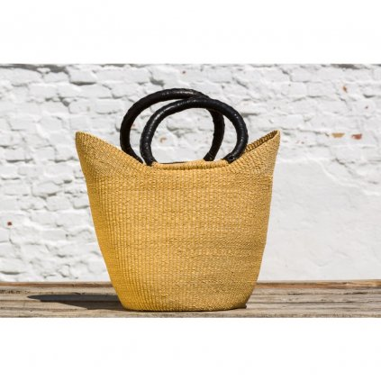 Fair trade bolga koš premium ve tvaru U z Ghany, přírodní barva