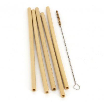 Fair trade bambusová brčka s čistícím štětečkem z Vietnamu, 5 ks