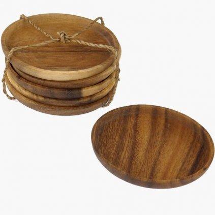 Fair trade podšálek z akáciového dřeva z Filipín, 8 cm