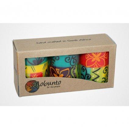 Nobunto fair trade dárková sada 3 pilířové svíčky Matuko z JAR, 5 x 7 cm