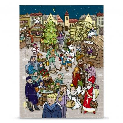 Český fair trade bio adventní kalendář s vánočními motivy na náměstí, mléčná čokoláda 37 % kakaa