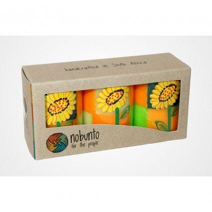 Nobunto fair trade dárková sada 3 pilířové svíčky Alizeti z Jihoafrické republiky, 5 x 7 cm