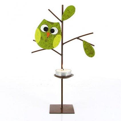Fair trade kovový svícen Stromek se zelenou sovičkou z Kolumbie, 26 cm