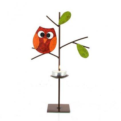 Fair trade kovový svícen Stromek s červenou sovičkou z Kolumbie, 26 cm
