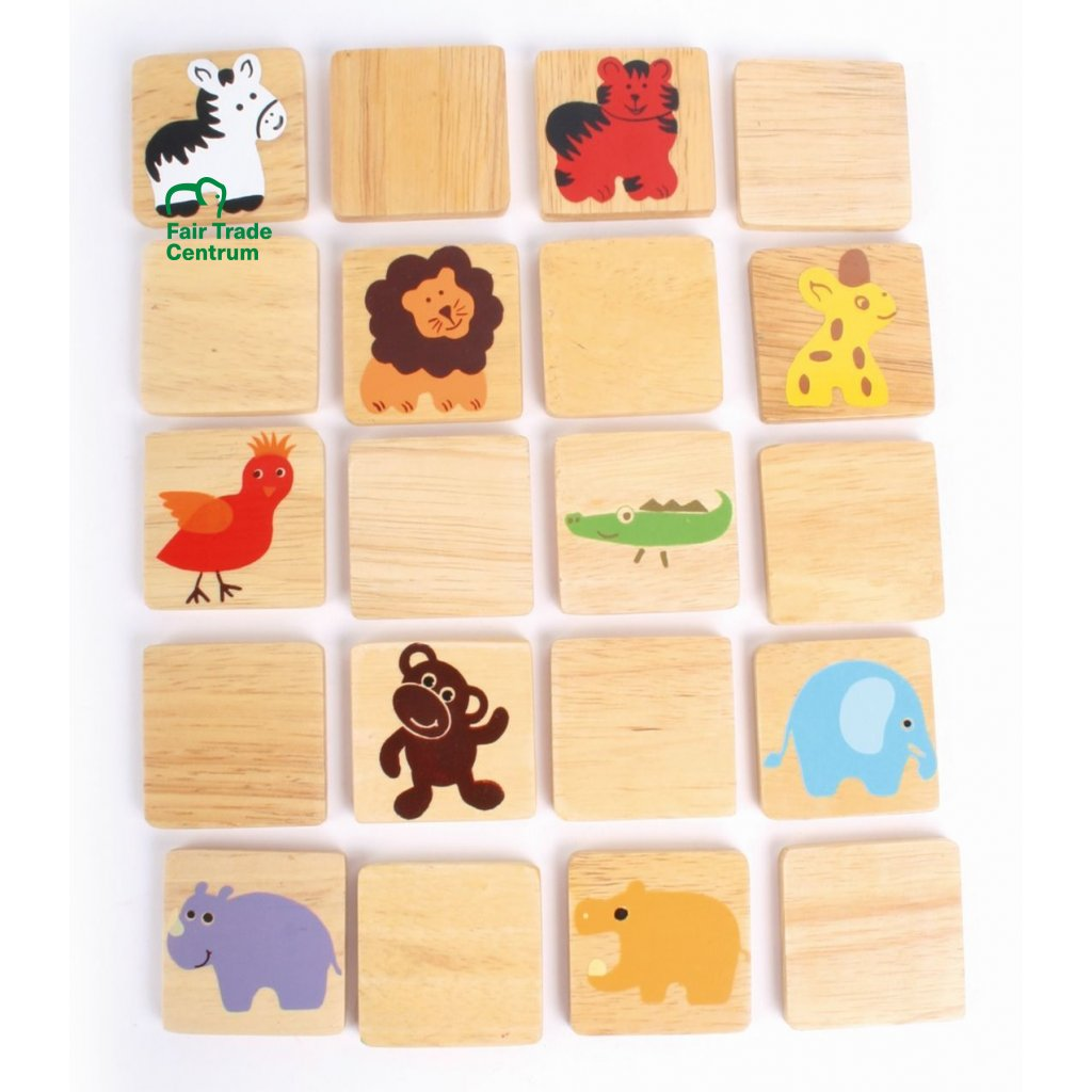 Fair Trade dřevěné pexeso s divokými zvířaty