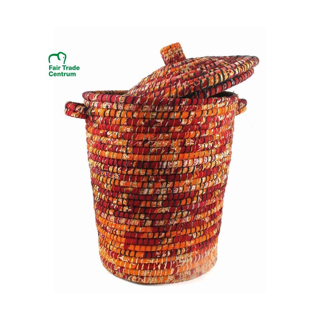 Fair Trade koš na prádlo ze sárí z Bangladéše, oranžový