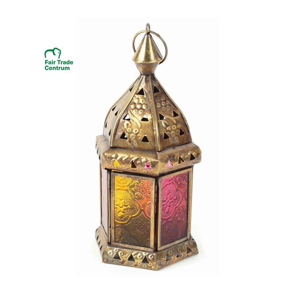 Fair Trade ručně dělaná barevná lucerna z Indie