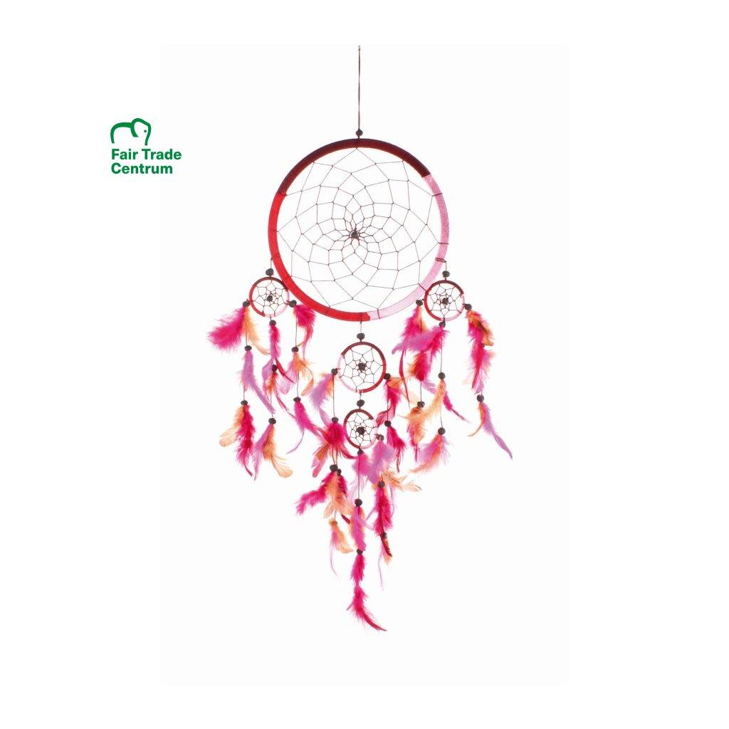 Fair Trade lapač snů růžový z Bali, 72 cm