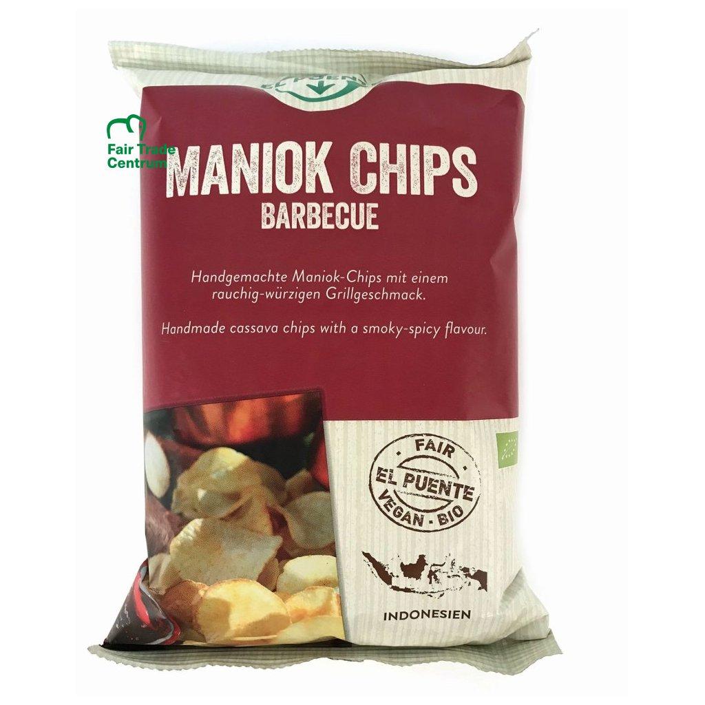 Fair trade bio maniokové chipsy barbecue, 100 g