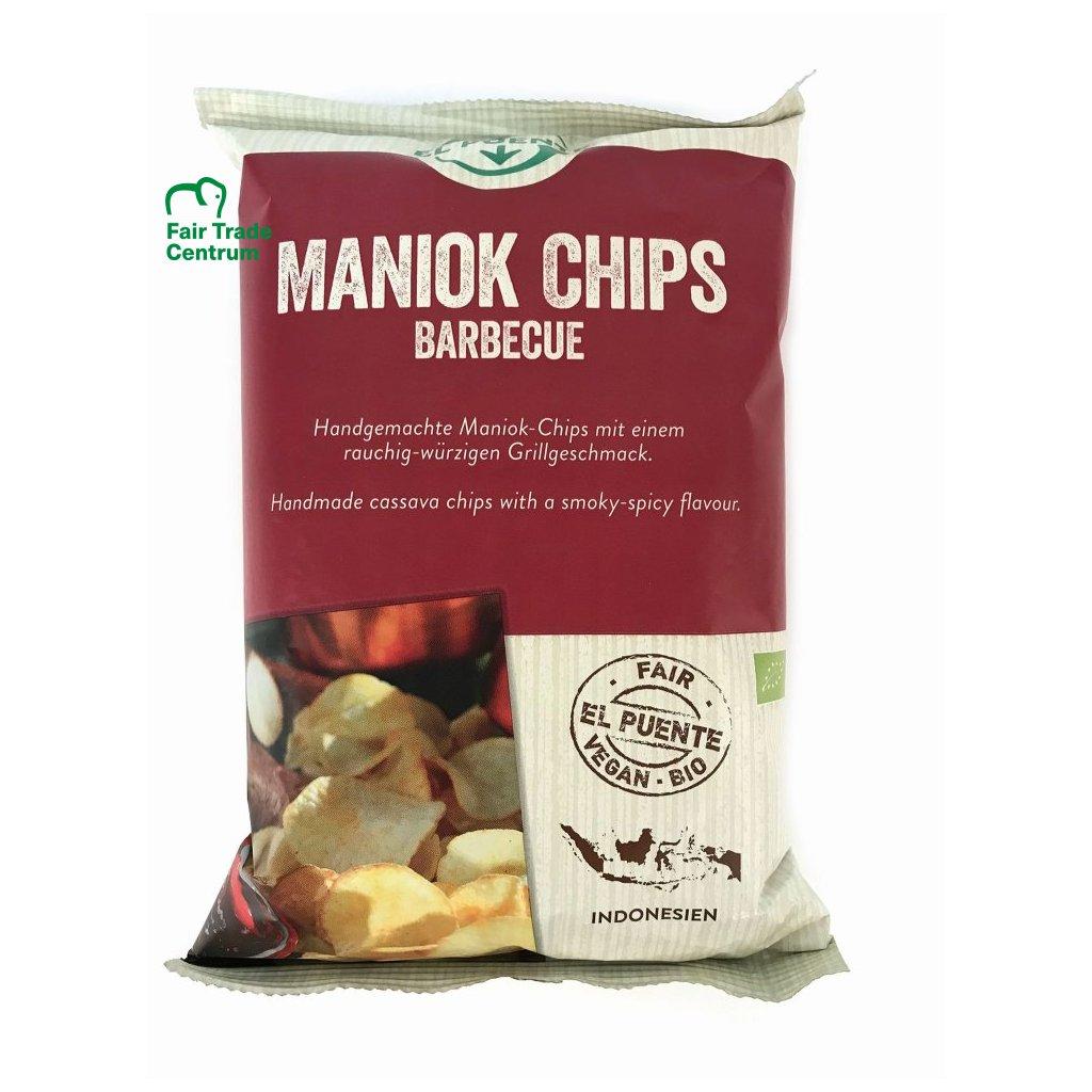 Fair trade bio maniokové chipsy barbecue, 30 g