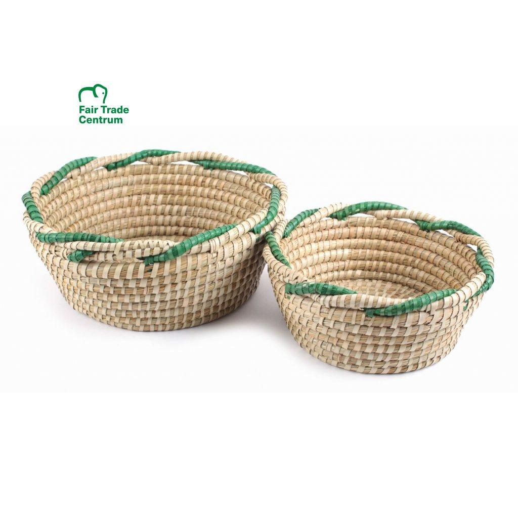 Fair Trade proutěné košíky se zeleným lemem 2 v 1