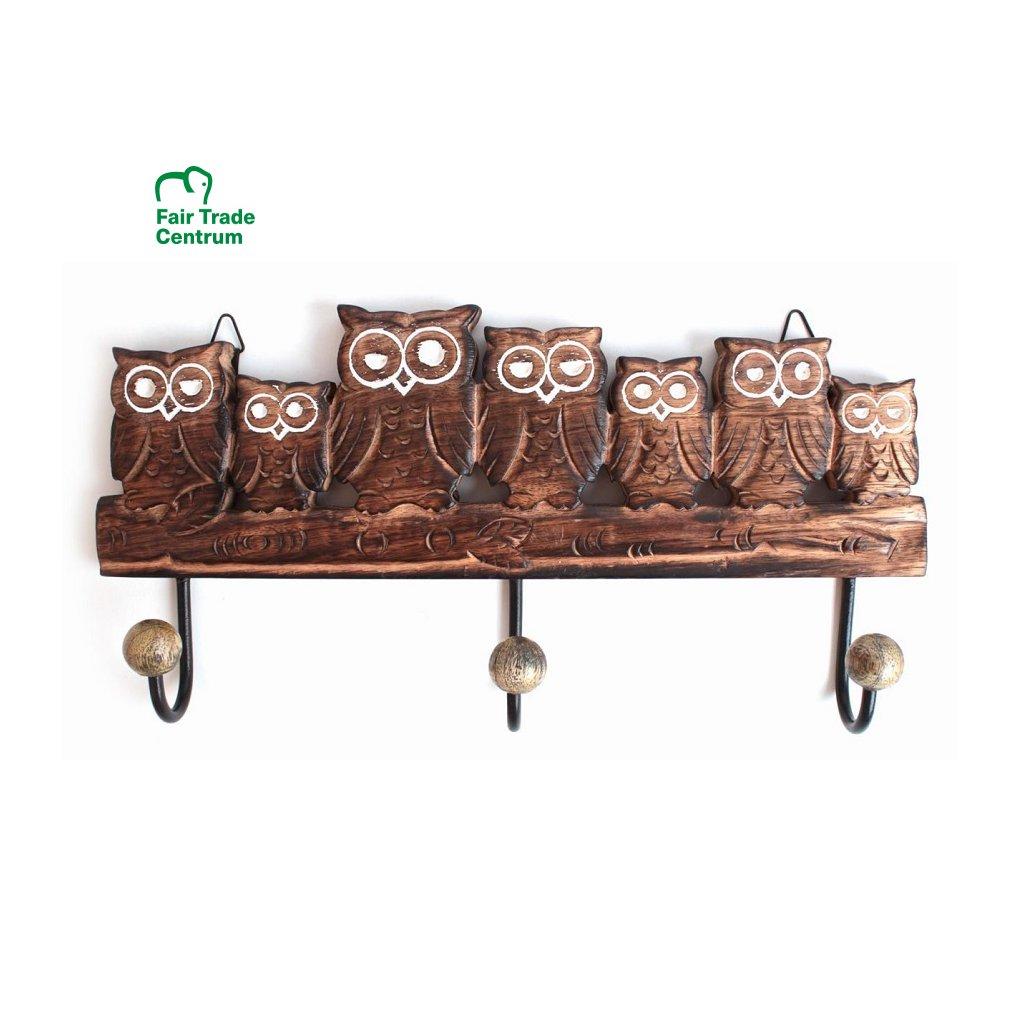 Fair trade věšák 7 sov z mangového dřeva z Indie