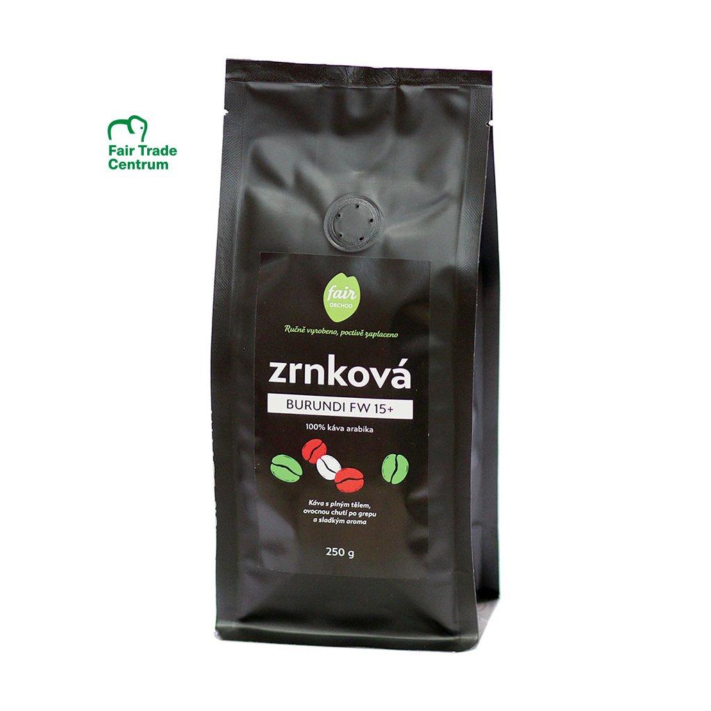 Fair trade zrnková káva Burundi FW 15+, 250 g