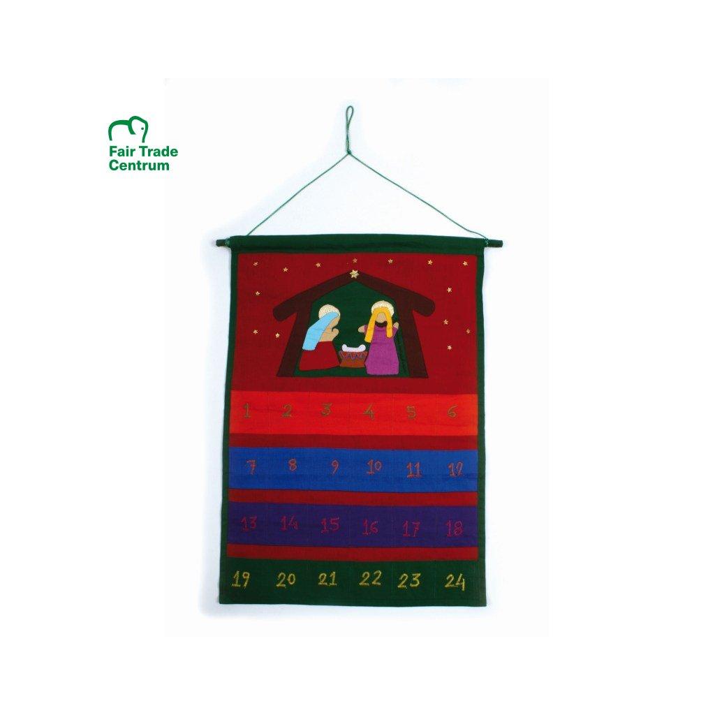 Fair trade ručně šitý bavlněný adventní kalendář s kapsičkami z Indie