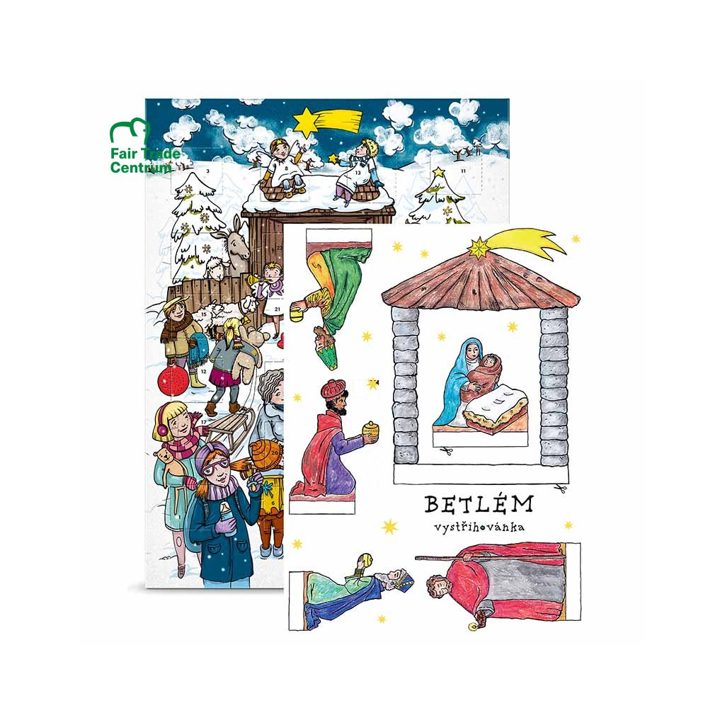 Fair trade bio adventní kalendář s vystřihovánkou betlému