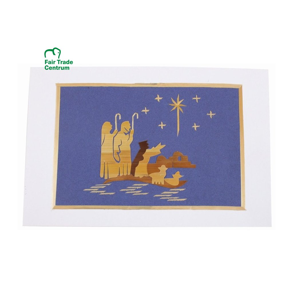 Fair Trade vánoční přání ze slámy Pastýři