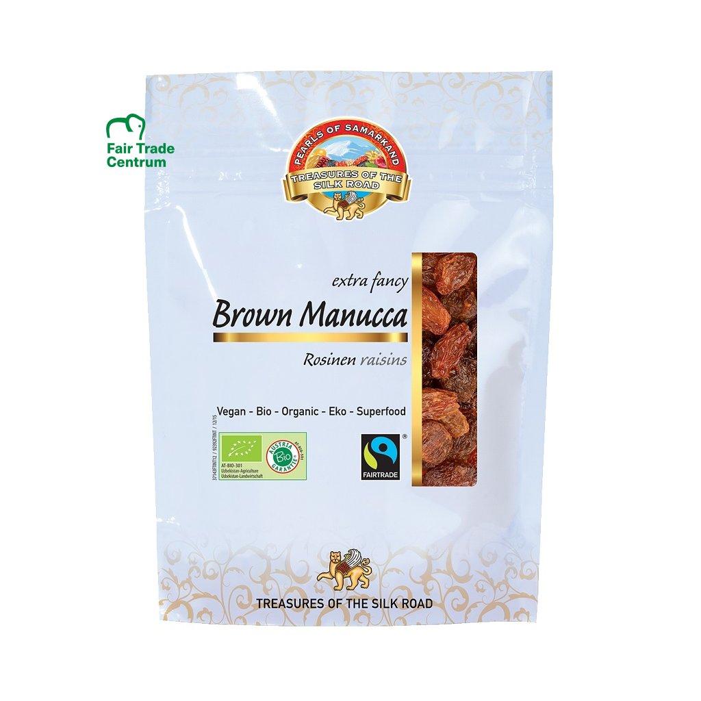 Fairtrade bio hnědé hrozinky Manuka, sušené na slunci
