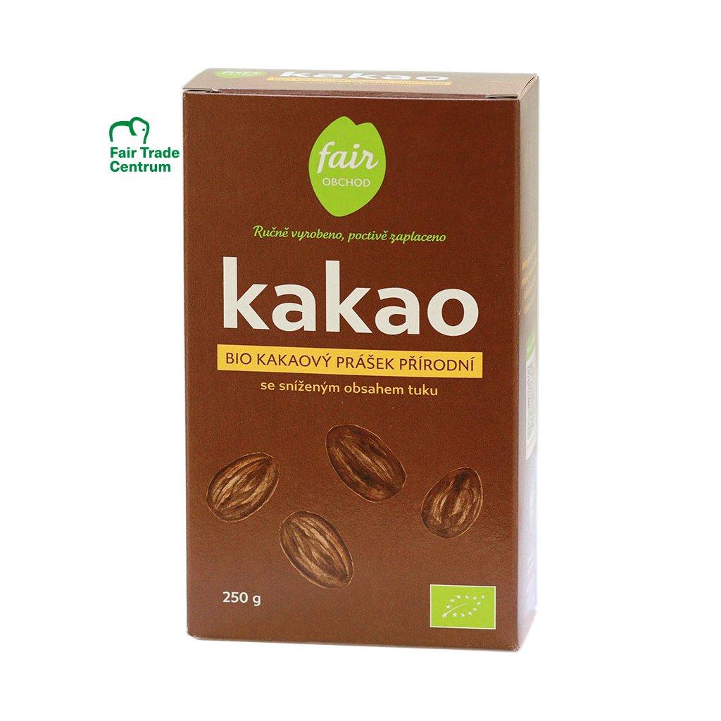 Fair trade bio kakaový prášek přírodní, snížený obsah tuku, 250 g