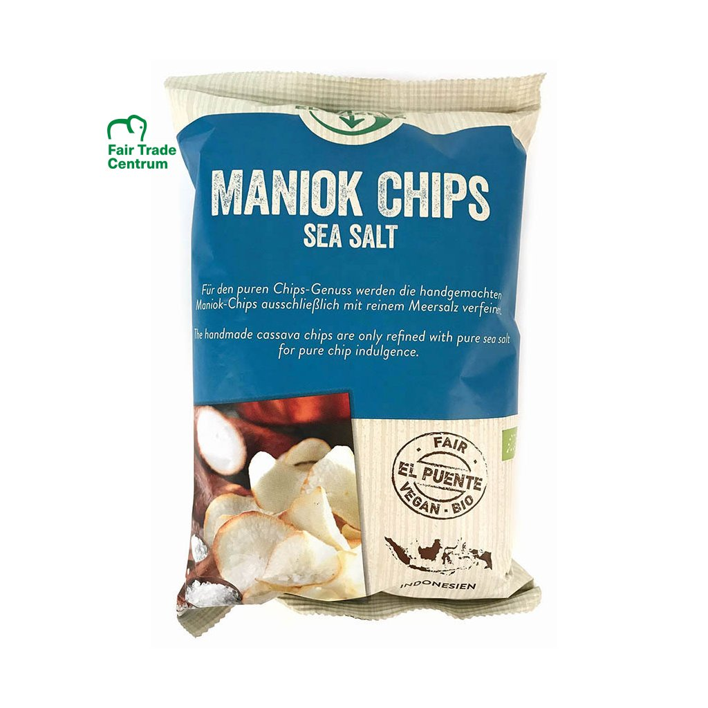 Fair Trade bio maniokové chipsy s mořskou solí, 30 g