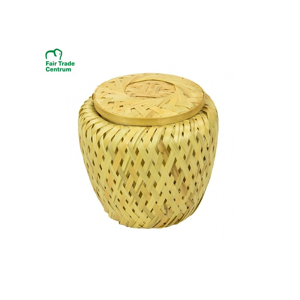 Fair trade proutěná bambusová dóza s víčkem z Vietnamu