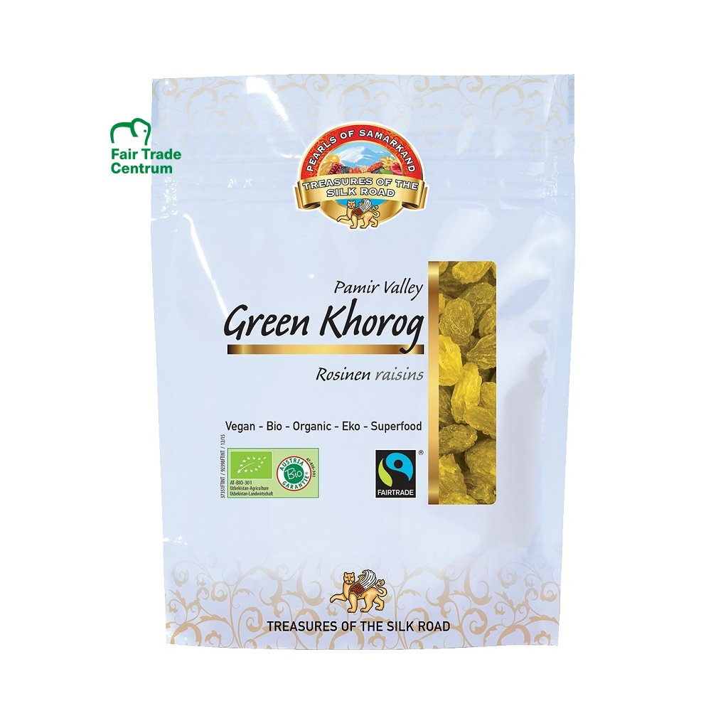 Fairtrade bio zelené hrozinky Khorog, sušené ve stínu