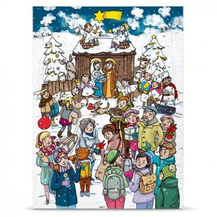 Fair trade bio adventní kalendář s mléčnou čokoládou a příběhem o narození Ježíška