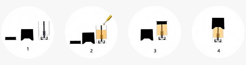 Postup plnění Pod Cartridge pro Pod elektronické cigarety řady Juul, OVNS aj.