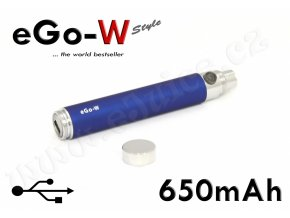 [!Doprodej] - Baterie eGo-W / USB passthrough (650mAh) - MANUAL (Modrá)