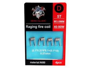 Demon Killer Raging Fire předmotané spirálky Ni80 0,27ohm 4ks Typ D  + DÁREK ZDARMA