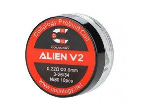 Coilology Alien V2 předmotané spirálky Ni80 0,22ohm 10ks  + DÁREK ZDARMA