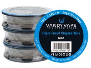 Vandy Vape Triple Fused Clapton Ni80 odporový drát 28ga*3*38ga 3m