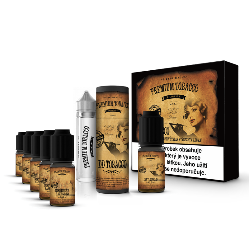 E-liquid DIY sada Premium Tobacco 6x10ml / 6mg: DD Tobacco