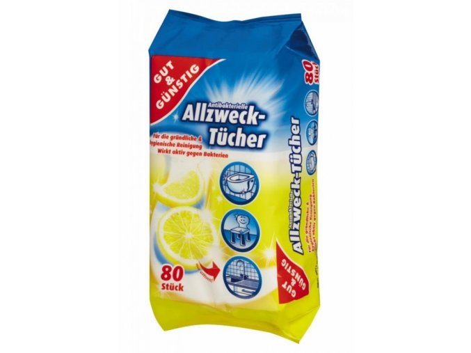 Gut & Gunstig univerzální antibakteriální čistící ubrousky 80 ks
