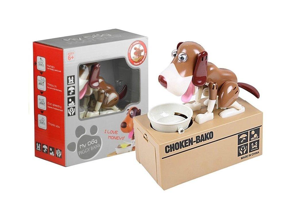 2274 toys24 pokladnicka hladovy pes hnedo bily